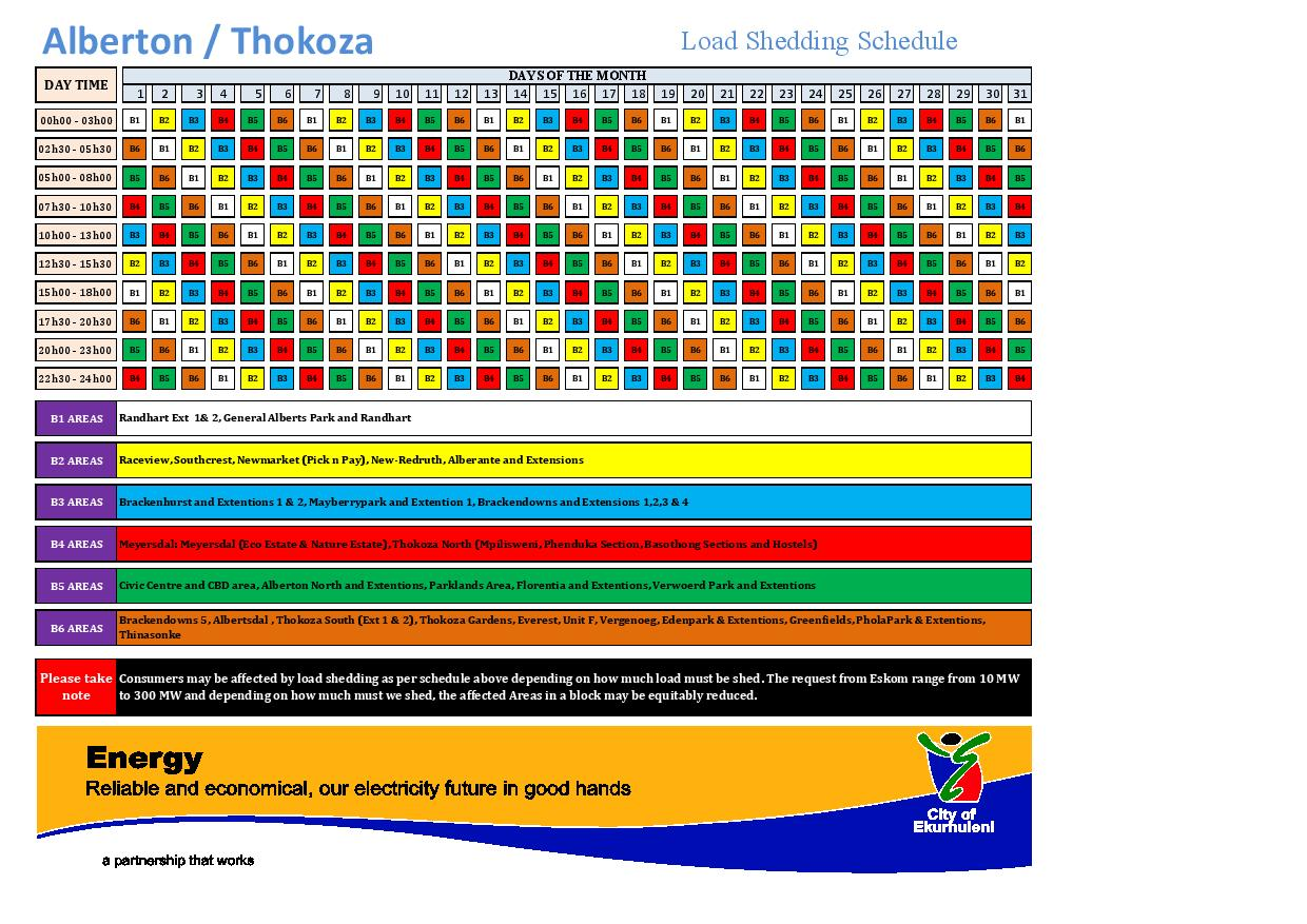 Eskom Load Shedding Schedule 2019 Twitter: New Load Shedding Schedule 2015