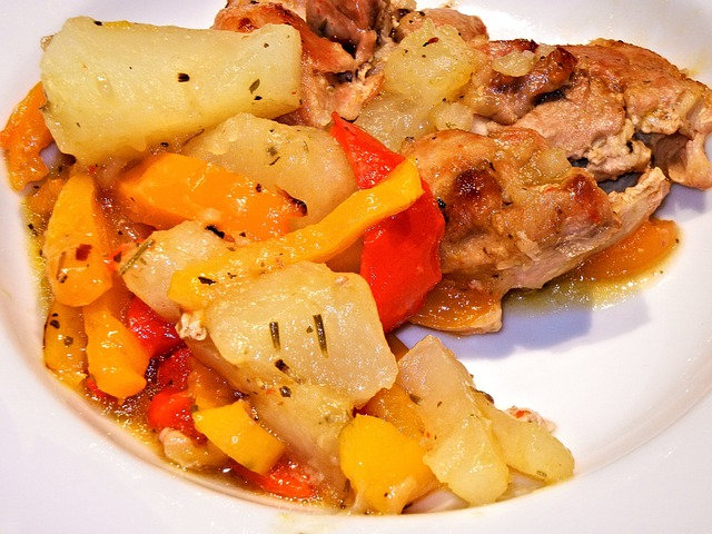 Citrus and herbs roast chicken with sweet potatoes